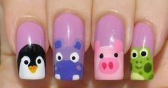 Cute penguin, hippo, pig and frog nails. Lots more on the page, too!