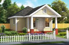 Tiny House Plan Just Over 400 sq ft Living Space and 1 Bedroom - House Plan 61482 - Cottage, Traditional Style House Plan with 412 Sq Ft , 1 Bed , 1 Bath Bungalow House Plans, Craftsman Style House Plans, Country House Plans, House Plans And More, Best House Plans, Small House Plans, Cottage Plan, Cottage Homes, Cottage Style