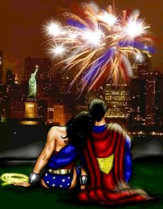 emanofsteel: just returned from incredible fireworks beneath the Washington Monument. (would have been even better if i had had my WW by my side though! xx) by the super wonderful Meejay7 for the Superman and Wonder Woman Art Contest - Americana Closing date 9th July 2011