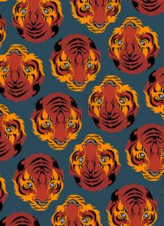 Tiger Repeat Print by Matt Taylor Tiger Art, Tiger Tiger, Aesthetic Art, Pattern Art, Art Inspo, Art Reference, Cool Art, Illustration Art, Poster