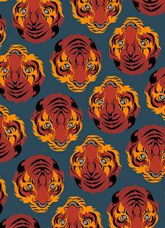 Tiger Repeat Print by Matt Taylor Tiger Art, Tiger Tiger, Grafik Design, Pattern Art, Aesthetic Art, Art Inspo, Art Reference, Cool Art, Canvas Art