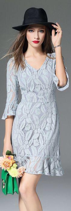 Blue Flared Sleeves Ruffled Hem Lace Dress