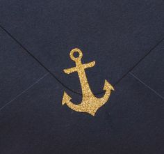 25 small gold glitter anchor stickers, vinyl anchors, envelope seal nautical party decoration, mermaid party, beach wedding invitation