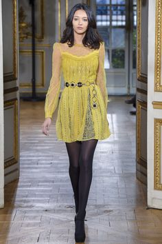Yellow Lace Dress with Long Sleeves and a Scoop Neck by Zuhair Murad - Fall 2017 Ready-to-Wear