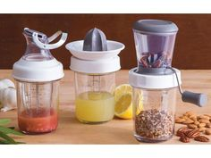 Mason Jar Citrus Juicer by PL8 at Cooking.com . They are sold individually ; the nut chopper, salad dressing mixer, and the juicer. Lids fit on any wide-mouth mason jar so you can change the size of the jar. Comes with the jars you see. Want all three!