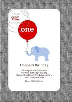 First Second Birthday Elephant Invitation Customised DIY Printable