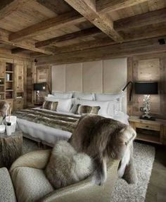 Amazing chalet design to your winter chalet. Trendy Bedroom, Modern Bedroom, Bedroom Small, Master Bedrooms, Chalet Interior, Interior Design, Chalet Design, Chalet Style, Bar Design