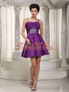 Short Purple Pricess Straps Beading Dama Dresses for Quinceanera