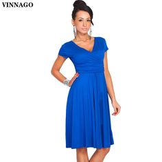 59f6a1ebf2d2 Click to Buy    VINNAGO Womens Casual Dress Party Dress Sexy V Neck
