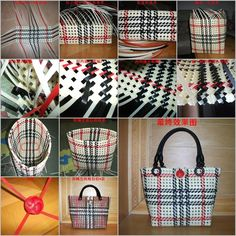 Share If you don't know the basic weaving way to start, you can check my weaved basket which shows the detailed instructions. This Scotland style bag is awesome for shopping. Materials: Packing strips Scissors