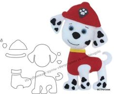 ФЕТРоголик (корейский фетр и аксессуары) Felt Animal Patterns, Felt Crafts Patterns, Applique Patterns, Stuffed Animal Patterns, Po Patrol, Paw Patrol Party, Paw Patrol Birthday, Paw Patrol Marshall, Peluche Star Wars