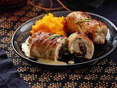 Täytetyt kalkkunakääröt Pork, Turkey, Chicken, Meat, Dinner, Recipes, Pork Roulade, Peru, Beef