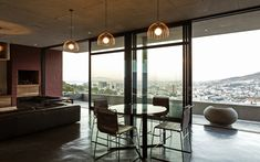A beautiful modern dining room space over looking Cape Town. #modern #home #interior #capetown Dining Chairs, Dining Room, Dark Horse, Cape Town, Modern Furniture, Windows, Space, Interior, Beautiful