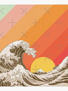 """Great Wave Ocean Vintage Retro Aesthetic "" Poster by ind3finite 