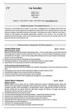 admin cashier banking cv template