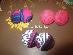 Urban Button Earrings Set of 3  New Pink by snchastang25 on Etsy, $22.00