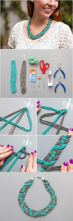 Are you thinking to make a necklace yourself for the summer? Here is a nice DIY fashion project to make a stunning woven beaded necklace. Beaded Statement Necklace, Diy Necklace, Beaded Jewelry, Handmade Jewelry, Necklace Tutorial, Pearl Necklaces, Tutorial Colar, Handmade Accessories, Diy Schmuck