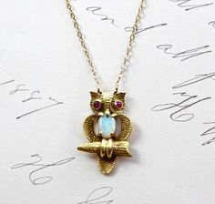 Vintage 14k Owl Pendant Yellow Gold Ruby and by TheEdenCollective