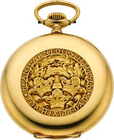 RP: Timepieces:Pocket (post 1900), Swiss Rare 18k Gold Carnegie Foundation Presentation Pocket Watch.