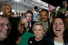 Television personality Oprah Winfrey and Rev. Jesse Jackson react after projections showed that Sen. Barack Obama (D-IL) will be elected to serve as the next President of the United States of America during an election night gathering in Grant Park on November 4, 2008 in Chicago, Illinois. O- YAY-YA !!!!!