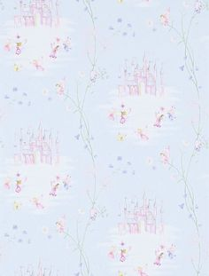 Fairy Castle (214045) - Sanderson Wallpapers - Dainty fairies, fairy castles and delicate flowers create a true fairyland feel. Shown in the soft blue with pink   colourway. Please request sample for true colour match.
