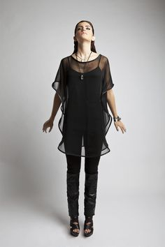 Chiffon and Leather Gill Tunic | Amanda deLeon | NOT JUST A LABEL