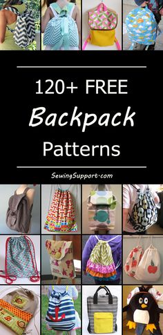 Lots of free backpack sewing patterns for toddlers, kids, and grown-ups. Foldover and drawstring backpacks. #bagpatterns #freesewingpatterns #diygifts #sewingprojects