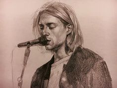 Beautiful drawing of Kurt Cobain. I wish I could draw like this… sigh! It's so beautifully done ❤
