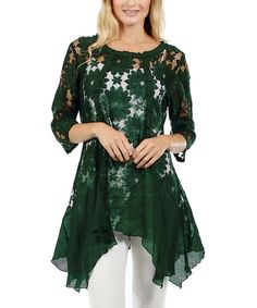 Lily Hunter Green Floral Embroidered Handkerchief Tunic | zulily