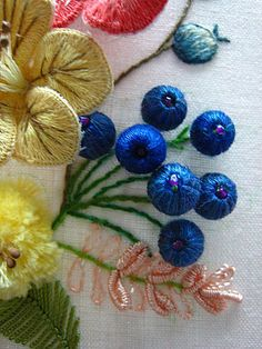 stumpwork berries, embroidered by Kwok Wing Sum