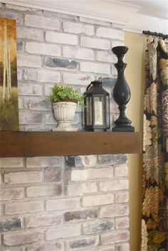 white washed brick fireplace tutorial...wish I'd seen this 15 years ago before I painted mine.