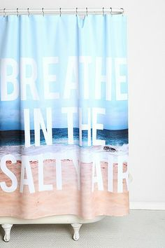 Leah Flores For DENY Breathe Shower Curtain Urban Outfitters ***perfect for guest bathroom*** Beach Theme Shower Curtain, Beach Theme Bathroom, Beach Bathrooms, Bathroom Ideas, Seaside Bathroom, Dorm Bathroom, Bathroom Remodeling, Bathroom Inspiration, Hawaiian Homes