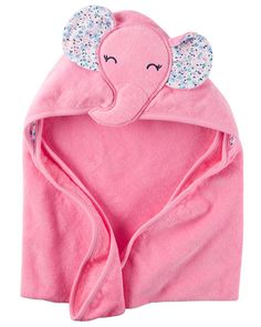 Soft, gentle and cute, this terry elephant towel will keep your baby girl warm after a bath.