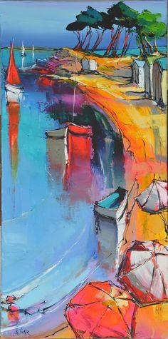 Terragrafics Chateau Decorative Toile Box, Set of 2 - Home Style Corner Watercolor Landscape, Abstract Landscape, Landscape Paintings, Abstract Art, Landscapes, Watercolor Techniques, Art Techniques, Eric Le Pape, Mediterranean Paintings