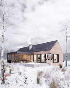 Winter retreat on Behance Modern House Exterior Behance retreat Winter Scandinavian Architecture, Scandinavian Home, Architecture Design, Modern Residential Architecture, Cabins In The Woods, House In The Woods, Modern Barn, Modern Farmhouse, Modern Cabins