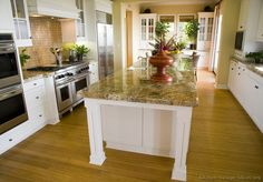 81 Custom Kitchen Island Ideas (Beautiful Designs) White kitchen island with full slab yellow granit Kitchen Island Posts, Homemade Kitchen Island, Kitchen With Long Island, Kitchen Island Table, White Kitchen Island, Long Kitchen, White Kitchen Cabinets, Kitchen Countertops, New Kitchen