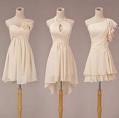 I like the middle one for my reception dress!  Short Chiffon Bridesmaid Dress Fashion Prom Dress by lovingbridal