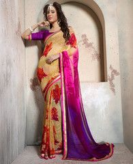 Orange & Pink Color Georgette Casual Party Sarees : Athira Collection YF-32268