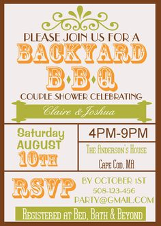 Backyard BBQ Couple Wedding Shower Invite by SandInMyShoesDesigns, $8.50