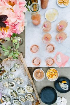 Rose and oysters party with #CrateandBarrel and 100 Layer Cake #cratewedding