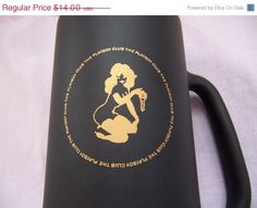 "Everythings On Sale FREE SHIPPING! Vintage Playboy Black Matte Glass Beer Mug Gold Emblem 6 1/2"" Tall"