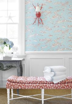 Bahamas #wallpaper in #turquoise & #coral. Preston Bench from…