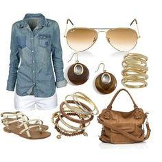 Chambray, white denim, tan bag, gold accessories