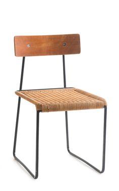 Helmut Magg; #3019K Enameled Metal, Wicker and Plywood Chair for Deutsche Werkstätten, 1953.