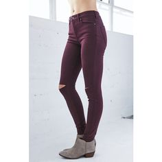 Bullhead Denim Co. Merlot Ripped High Rise Skinny Jeans ($50) ❤ liked on Polyvore featuring jeans, high-waisted skinny jeans, destroyed jeans, distressed jeans, long skinny jeans and denim skinny jeans