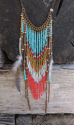 Cowgirl Bling BOHO Turquoise Coral Feathers Native Gypsy Beaded Fringe necklace #Fringe