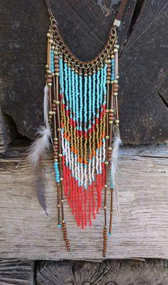 Cowgirl Bling BOHO Turquoise Coral Feathers Native Gypsy Beaded Fringe necklace #Fringe