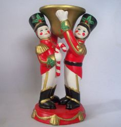 PARTYLITE TOY WOODEN SOLDIER NUTCRACKER TAPER CANDLE HOLDER CHRISTMAS DECOR