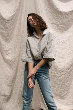 The Ruby Shirt flowing effortlessly in Natural french Flax Linen Creative Fashion Photography, Self Portrait Photography, Portrait Photography Poses, Photography Poses Women, Clothing Photography, Photo Poses, Editorial Photography, Glamour Photography, Lifestyle Photography