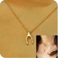 Gold Wishbone Necklace Dainty 14k Plated Charm New Good Luck Charm Jewelry #Handmade #Pendant